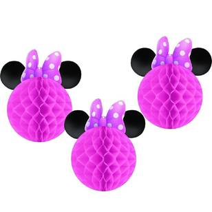 Amscan Minnie Bowtique Honeycomb Decorations 3 Pack