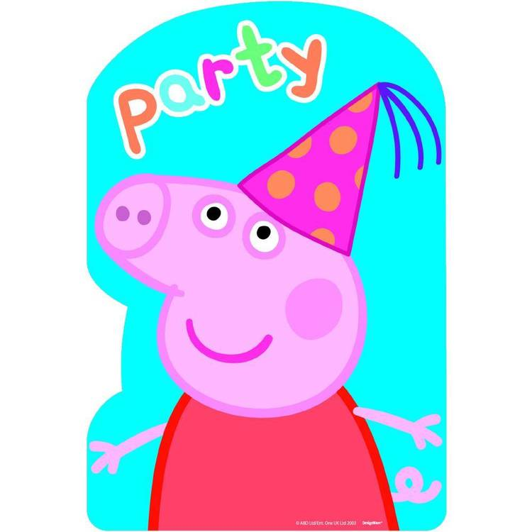 Peppa Pig Postcard Invitations 8 Pack Pink, Yellow & Blue
