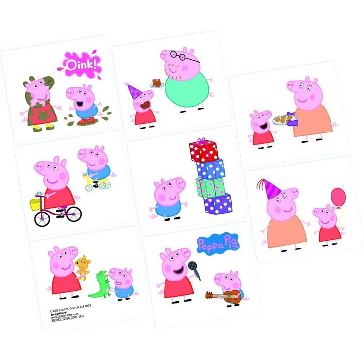 Peppa Pig Tattoo Favours 8 Pack