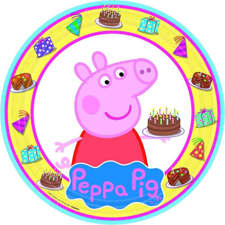 Peppa Pig Round Plates 8 Pack