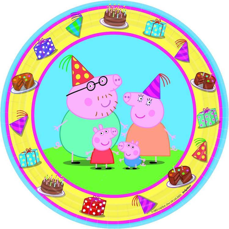 "Peppa Pig Round Plate 7"" 8 Pack"