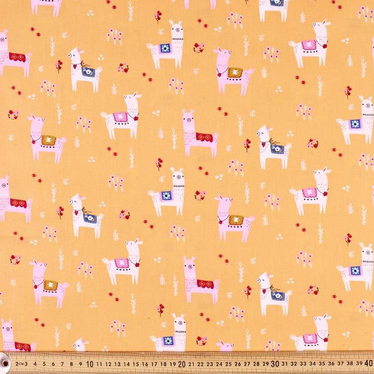 Kat Kalindi El Ranchos Llamas Printed Poplin Fabric