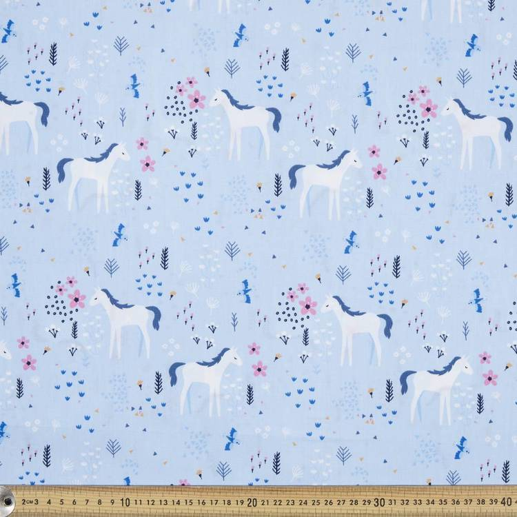Kat Kalindi El Ranchos Field Horse Printed Poplin Fabric