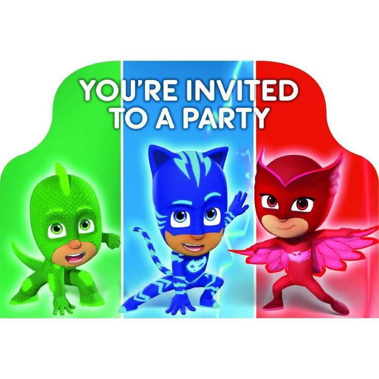 PJ Masks Postcard Invitations 8 Pack