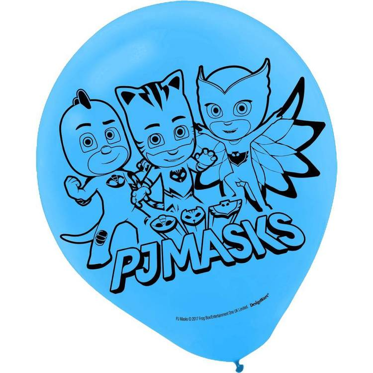 PJ Masks Latex Balloons 6 Pack Red, Blue & Green 12 in