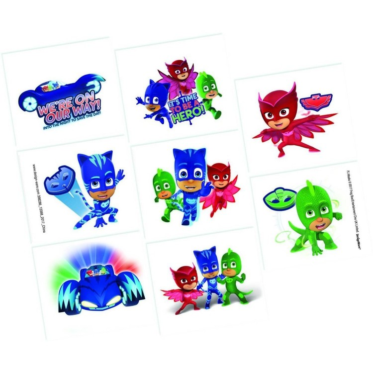 PJ Masks Tattoo Favours 8 Pack Red, Blue & Green