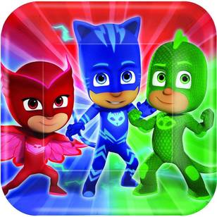 "PJ Masks Square 7"" Plates 8 Pack"