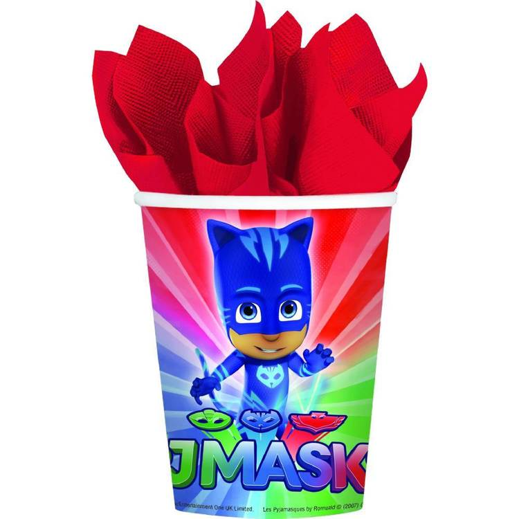 PJ Masks Cups 8 Pack Red, Blue & Green 9 oz
