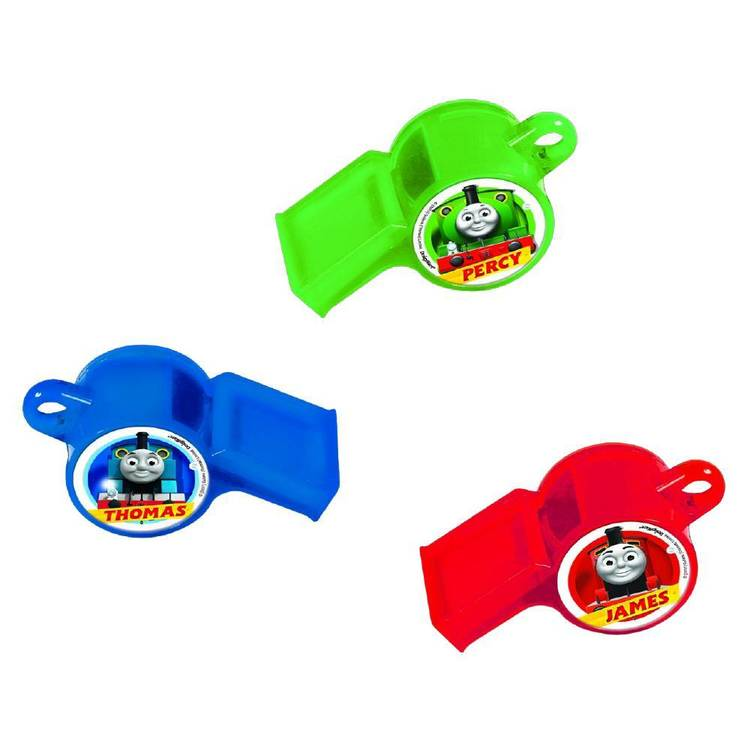 All Aboard Thomas Whistle Favours 12 Pack Blue, Green, Red & Yellow