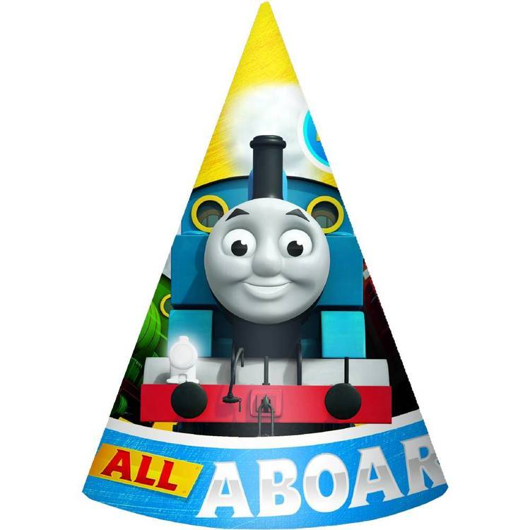 All Aboard Thomas Paper Cone Hats 8 Pack