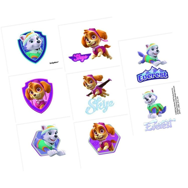 Paw Patrol Girl Tattoo Favours 8 Pack Red, Green, Yellow & Blue