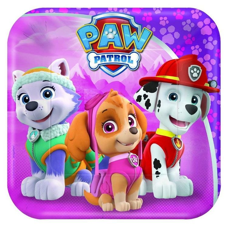 Paw Patrol Girls Square Plates 8 Pack