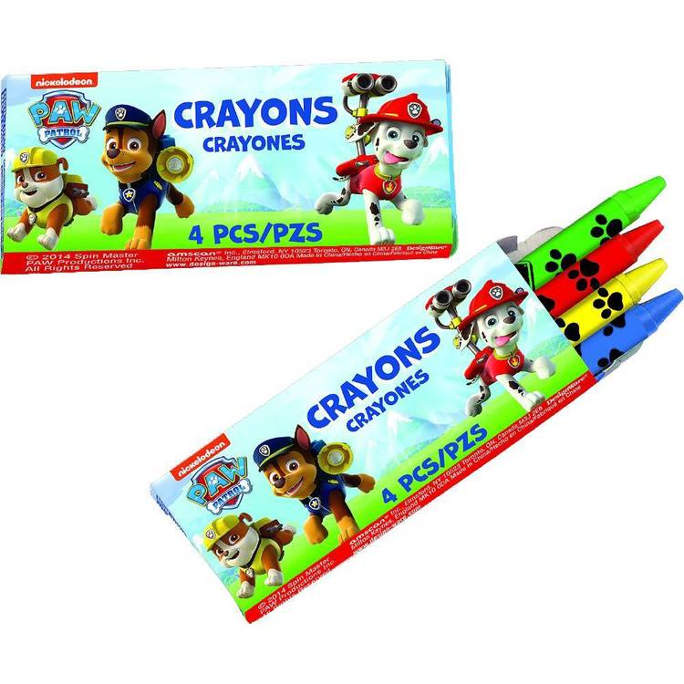 Paw Patrol Mini Crayon Favours 12 Pack Red, Green, Yellow & Blue