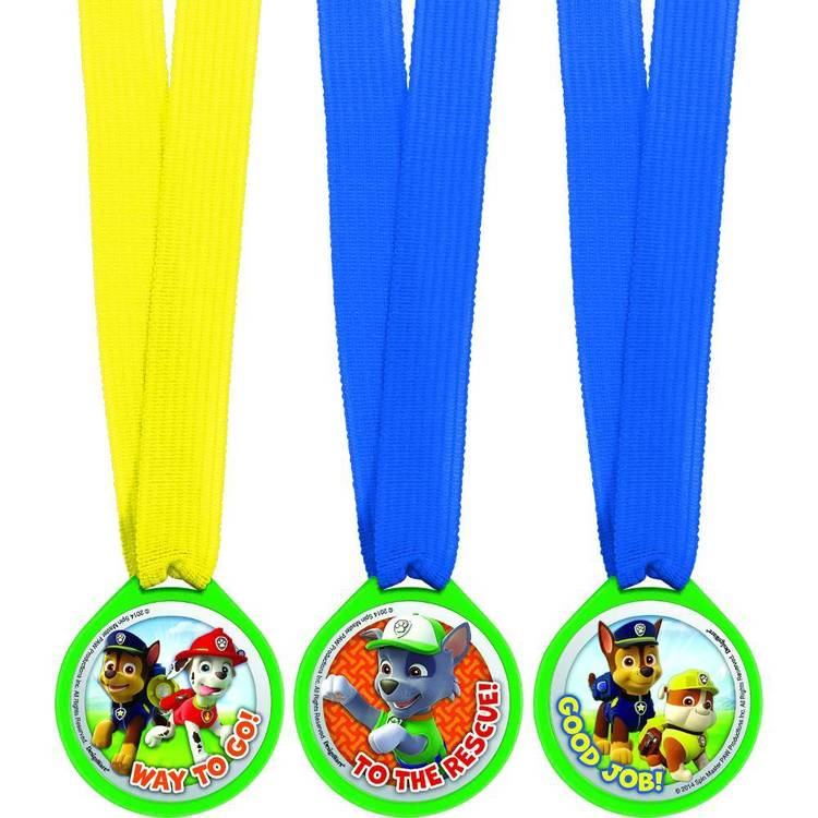Paw Patrol Mini Award Medal Favours 12 Pack Red, Green, Yellow & Blue