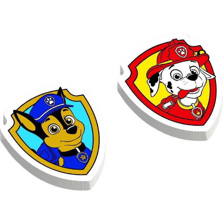 Paw Patrol Rubber Eraser Favours 12 Pack Red, Green, Yellow & Blue