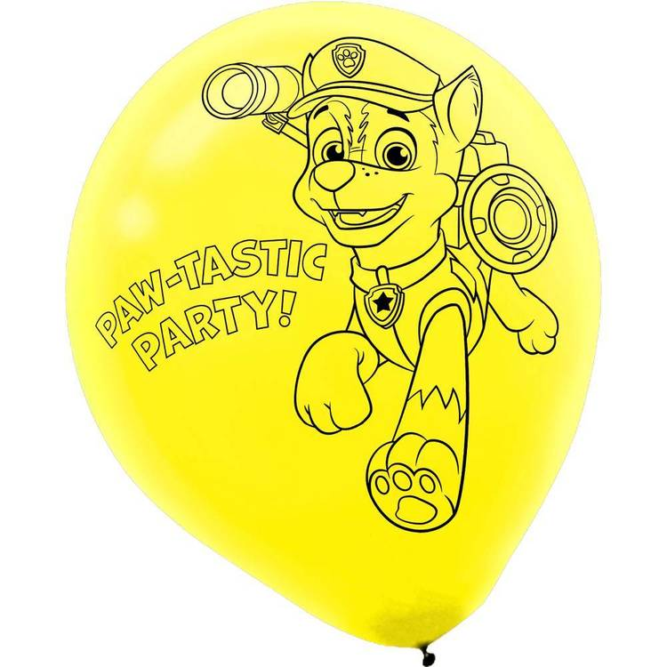 Paw Patrol Latex Balloons 6 Pack Red, Green, Yellow & Blue 12 in