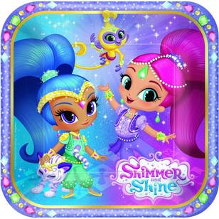 "Amscan Shimmer & Shine 7"" Square Plates 8 Pack"