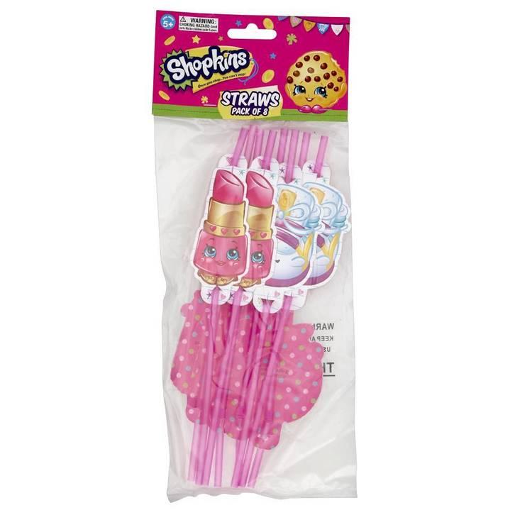 Shopkins Straws 8 Pack