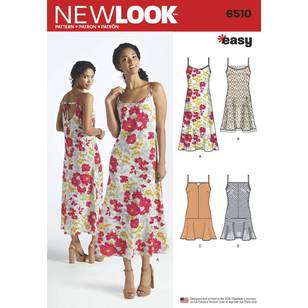 New Look Pattern 6510 Misses' Slip Dresses with Length and Back Variations