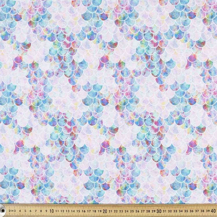 Mermaid Scales Printed Poplin Multicoloured 112 cm
