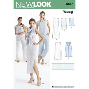 New Look 6517 Misses' Dress, Tunic, Top, Pants, and Scarf