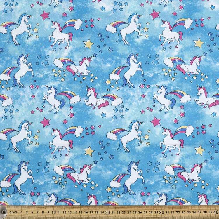 Unicorn Printed Poplin Fabric