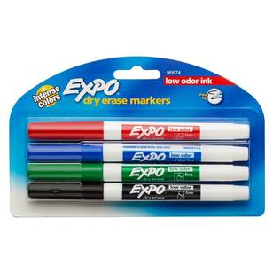 Expo Low Odour Fine 4 Pack Whiteboard Marker