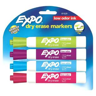 Expo Whiteboard Fashion Assorted 4 Pack Chisel