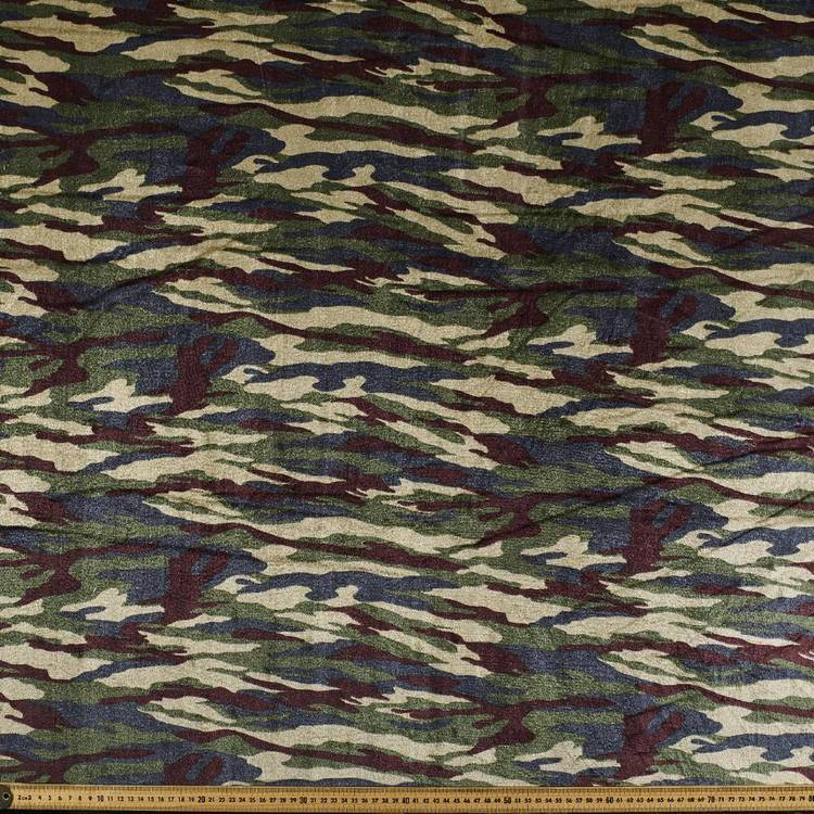 Camo Panne Fabric Green 148 cm
