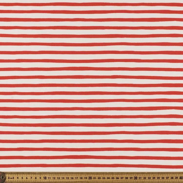 Red Stripes Birch 100% Organic Cotton Fabric