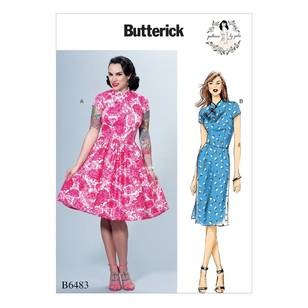 Butterick B6483 Misses' Dresses with Mandarin Collar and Skirt Options