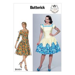 Butterick B6484 Misses' Square-Neck, Dropped-Waist Dresses and Petticoat Ruffle