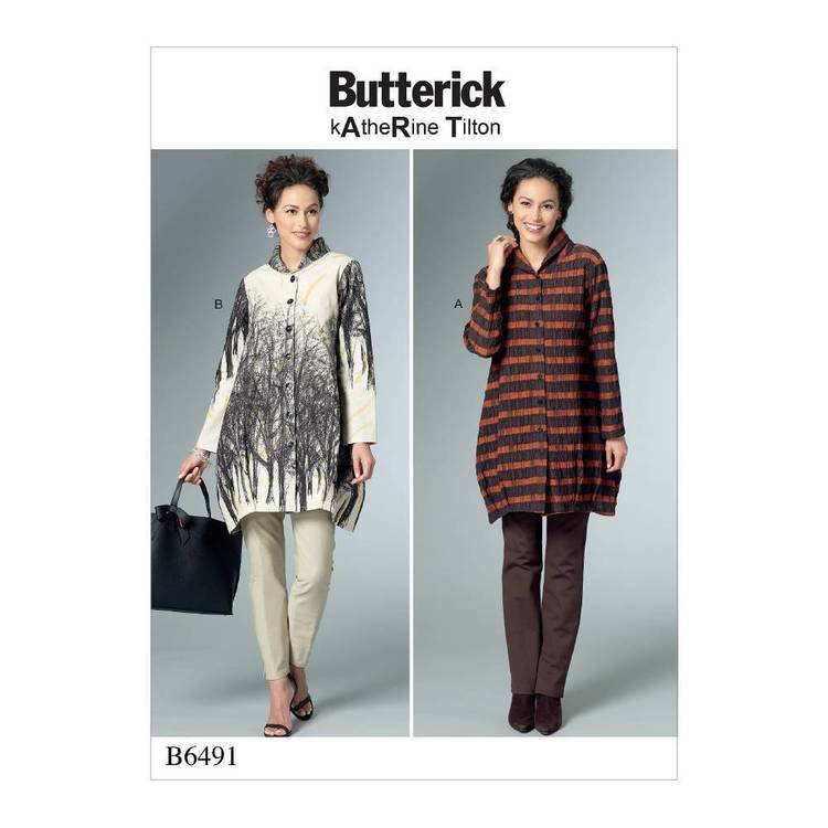 Butterick Pattern B6491 Misses' Loose Shirts with Stand Collar