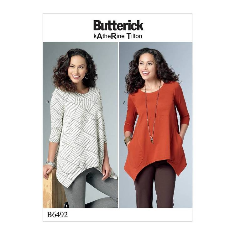 Butterick Pattern B6492 Misses' Loose Knit Tunics with Shaped Sides and Pockets