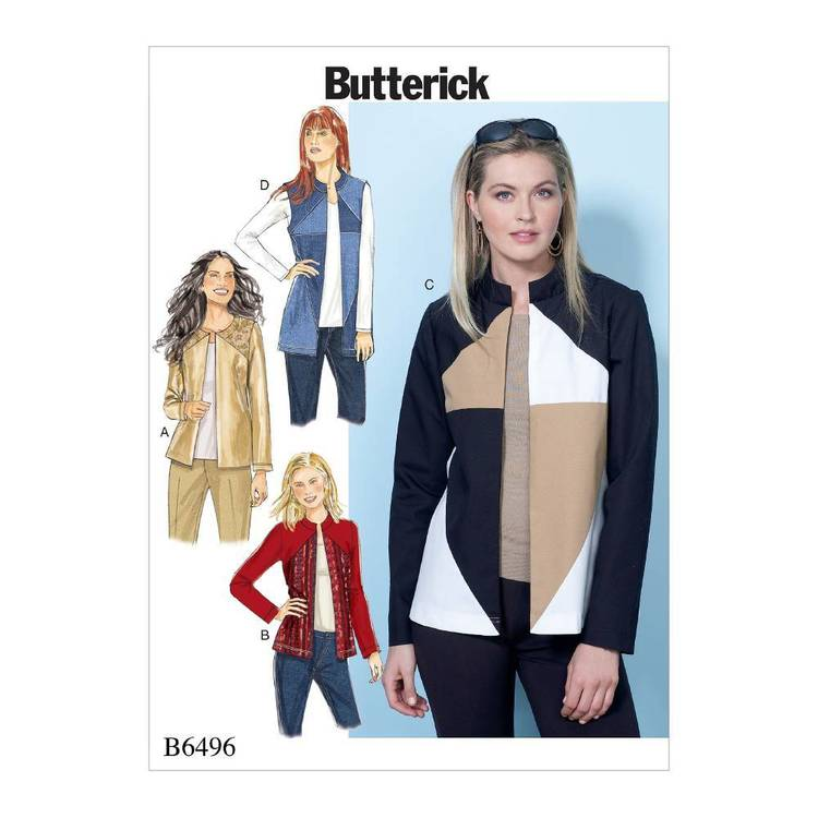 Butterick Pattern B6496 Misses' Jackets and Vest with Contrast and Seam Variations