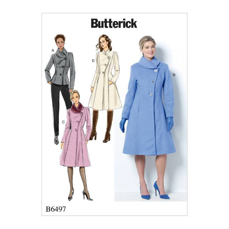 Butterick Pattern B6497 Misses'/Misses' Petite Jacket and Coats with Asymmetrical Front and Collar Variations
