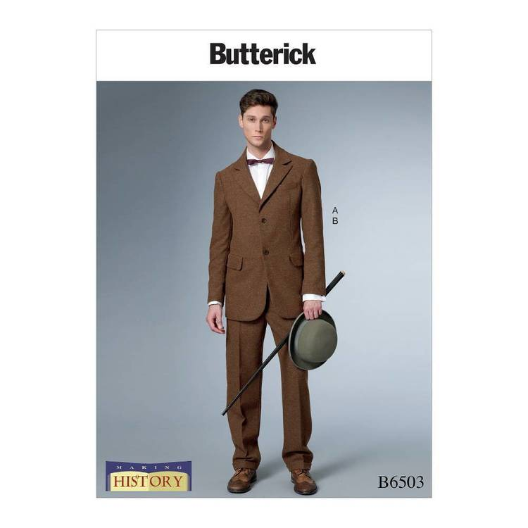 Butterick Pattern B6503 Men's Single-Breasted Lined Coat with Back Vent and Cuffed Pants