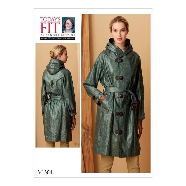 Vogue Pattern V1564 Misses Hooded Raincoat With Belt