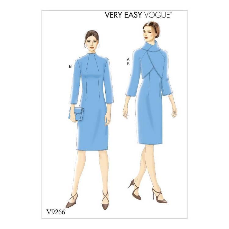Vogue Pattern V9266 Misses Lined Raglan-Sleeve Jacket And Funnel-Neck Dress