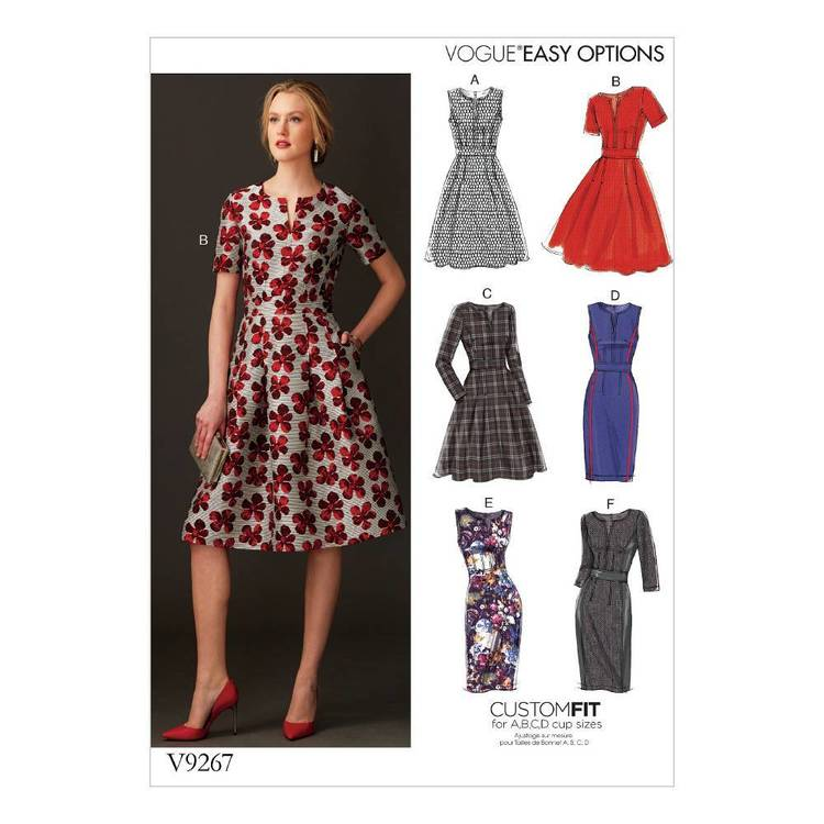 Vogue Pattern V9267 Misses Fit-And-Flare Dresses With Waistband And Pockets