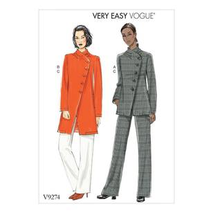 Vogue Pattern V9274 Misses' Asymmetrical Jacket and Pull-On Pants