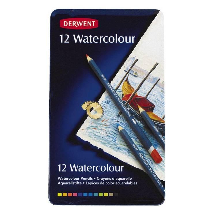 Jasart Derwent 12 Watercolour Pencils Set