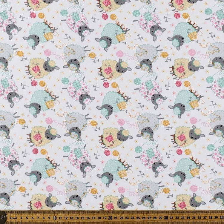 Knitting Sheep Printed Flannelette Fabric