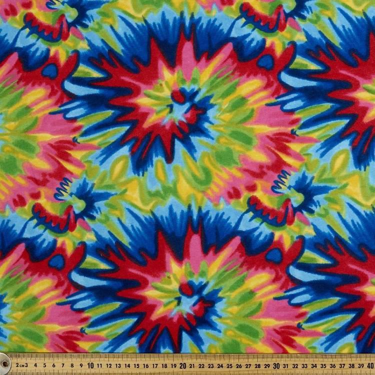 Tie Dye Rainbow Printed Flannelette Fabric