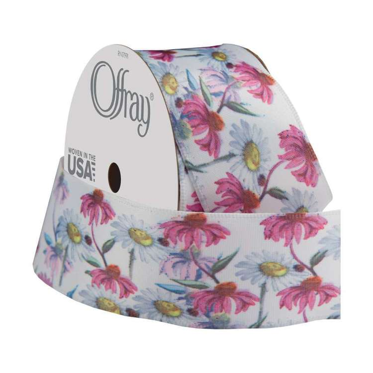 Offray Wired Wild Daisies Ribbon
