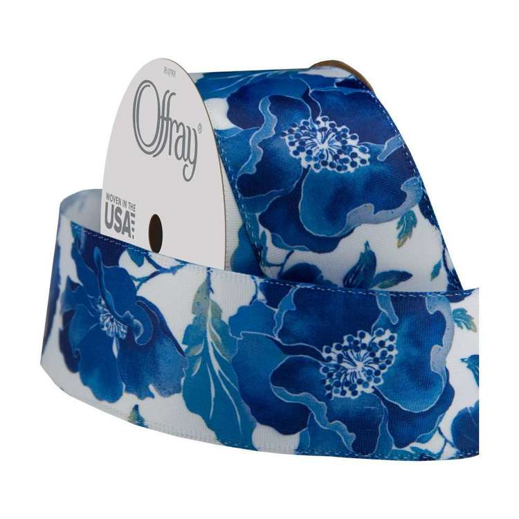 Offray Wired Camino Ribbon Blue 38 mm x 2.7 m
