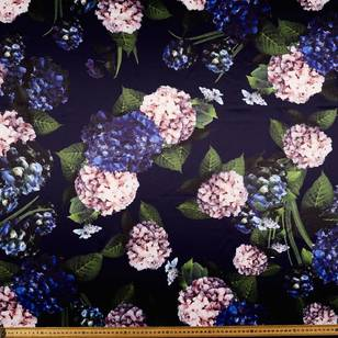 Hydrangea Printed Delustered Satin #4 Fabric