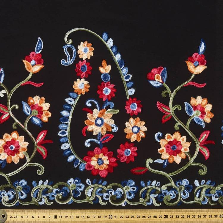 Folk Embroidered Border Rayon