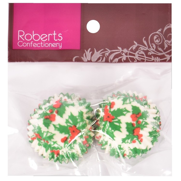 Roberts Edible Craft Holly Paper Mini Cups Multicoloured