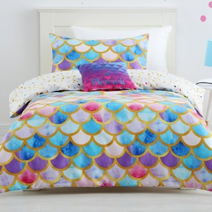 Ombre Blu Mermaid Scale Quilt Cover Set